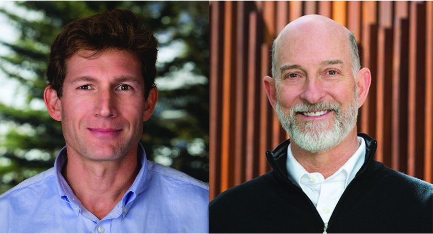 Auden Schendler, left, is senior vice president of sustainability at Aspen Skiing Company; Ted White is executive chair of Rocky Mountain Institute.