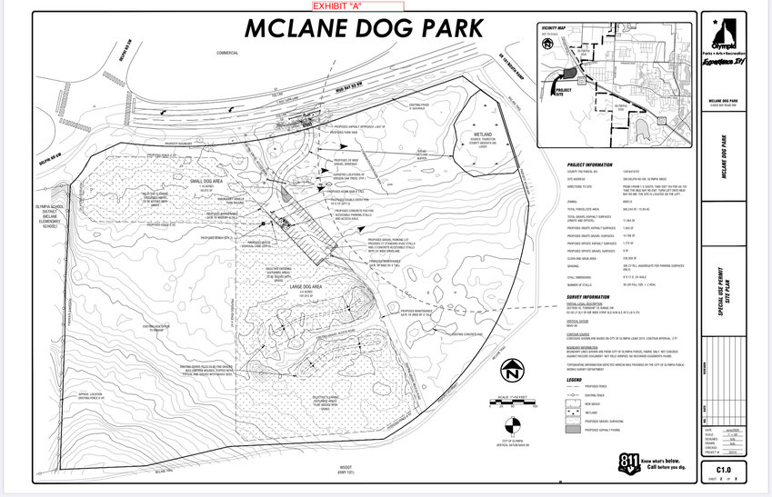 A map of a planned dog park near McLane Elementary School in Olympia. The park is set to be opened sometime in Summer 2021.