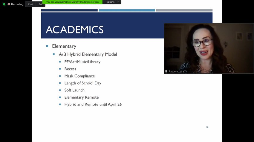 OSD Executive Director of Elementary Education Autumn Lara talks to the school board and community on Jan. 21, 2021 about the specifics of the academic schedule for the Preschool and Kindergarten students returning on February 1.