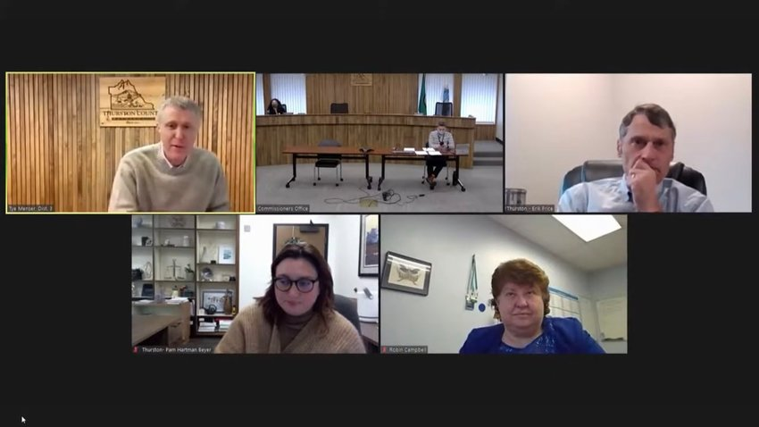 Thurston County Commissioners and Superior Court officials meet to discuss updates to the county's superior court on Thu., Feb. 4, 2021