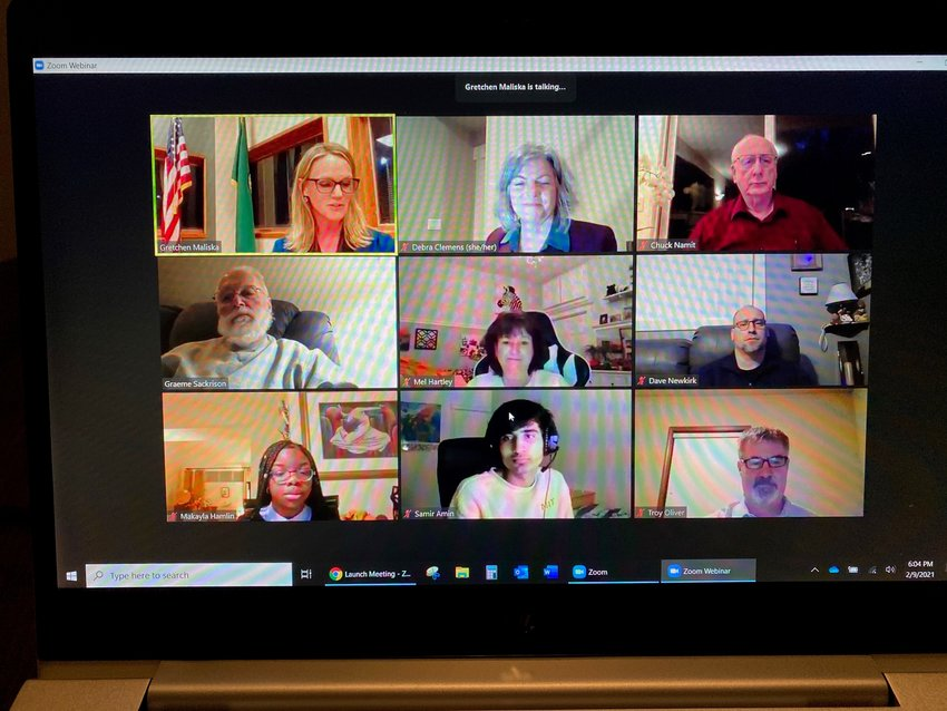 The North Thurston Public Schools board met via Zoom on Tue., Feb. 9, 2021.