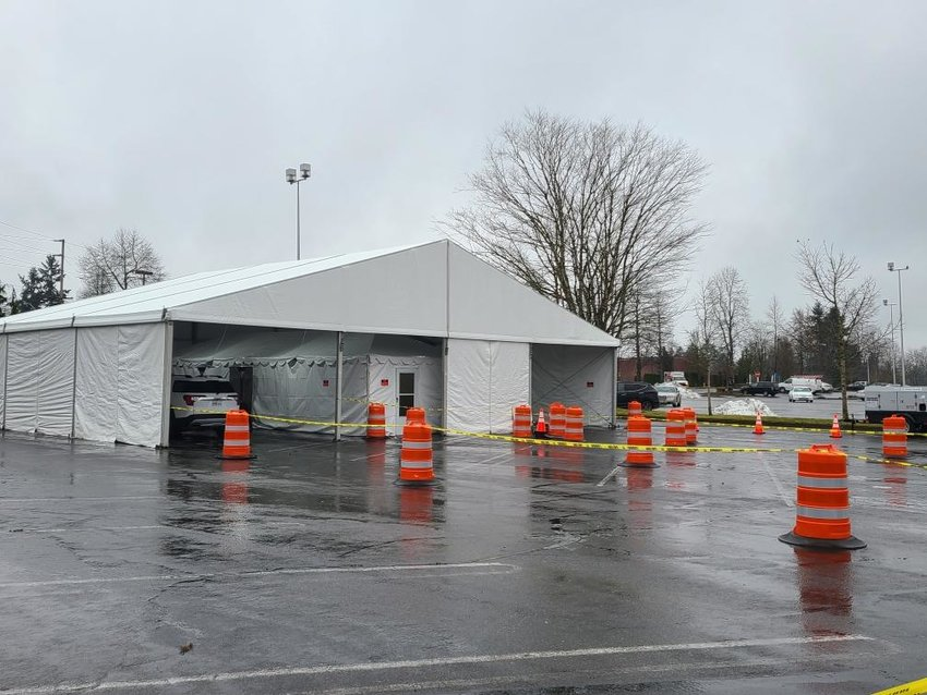 A new COVID-19 testing site located in the Capital Mall parking lot, on Friday, Feb. 19, 2021. The site is operated by Northwest Laboratory.