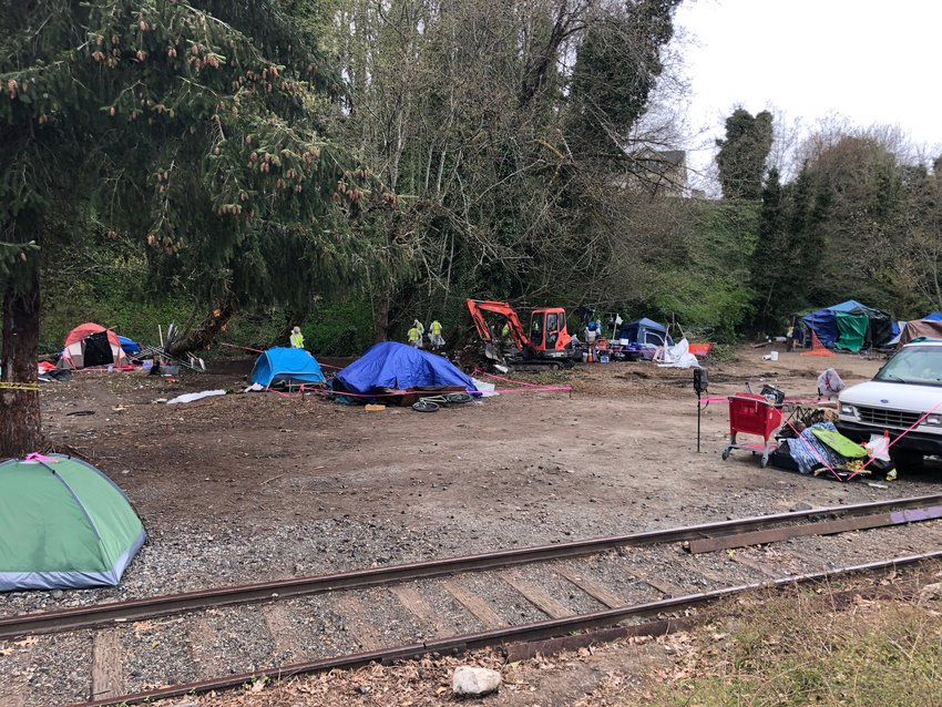 The north section of the homeless encampment on Deschutes Parkway was mostly cleared of debris by 11:00 am on the first day of the project, Wed., April 7, 2021.