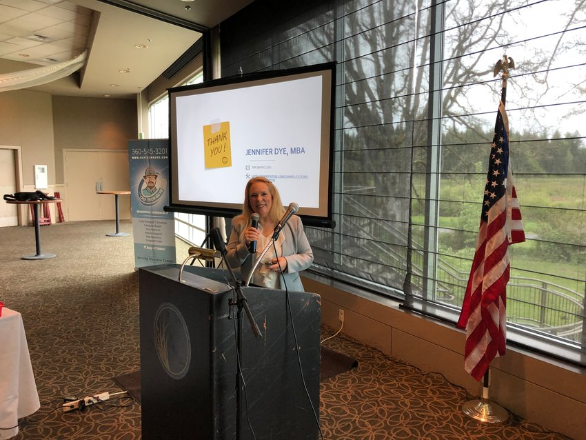 Jennifer Dye, director of the Small Business Development Center at South Puget Sound Community College, was the keynote speaker at the Lacey South Sound Chamber of Commerce's Forum on May 5, 2021, held at the Indian Summer Golf & Country Club.