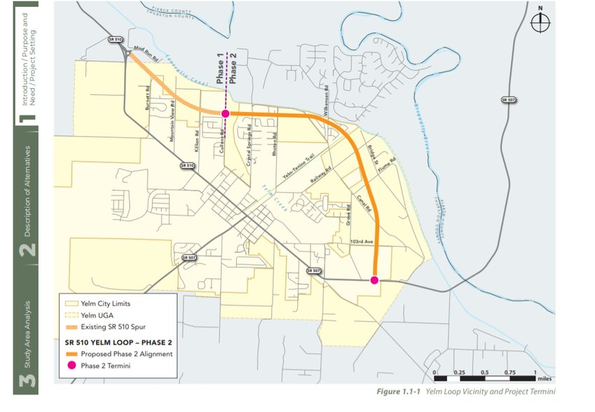 The yellow line shows the proposed route of the new SR 510 Yelm Loop highway.