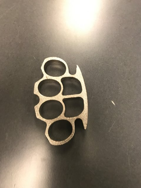 These brass knuckles were in Ben Harris' right pocket, on May 28, 2021, according to Tumwater police.