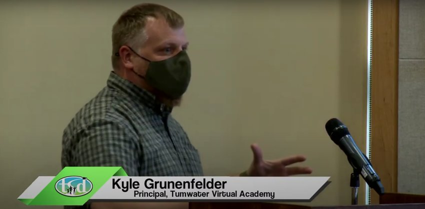 Kyle Grunenfelder, principal of Tumwater Virtual Academy, presented to the Tumwater School District board on June 17, 2021.