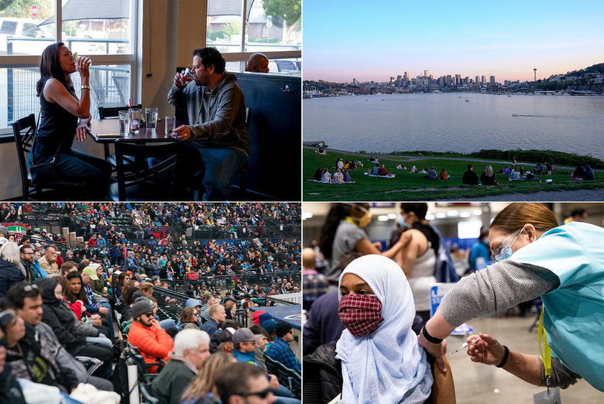 Images from across Washington:  Top left: Rob Henning and Dana Hunter, Ellensburg locals and long-time Red Pickle regulars on Sept. 9, 2020. (Emily McCarty/Crosscut) Top right: People gather at Gas Works Park on April 9, 2020, in Seattle. (Sarah Hoffman/Crosscut) Bottom left: Reign FC plays the Portland Thorns FC at Cheney Stadium in Tacoma on Sept. 29, 2019. (Jovelle Tamayo for Crosscut) Bottom right: Iman Hassan of Seattle receives her first dose of the COVID-19 vaccine at Lumen Field Event Center's COVID-19 vaccination site on March 13, 2021.