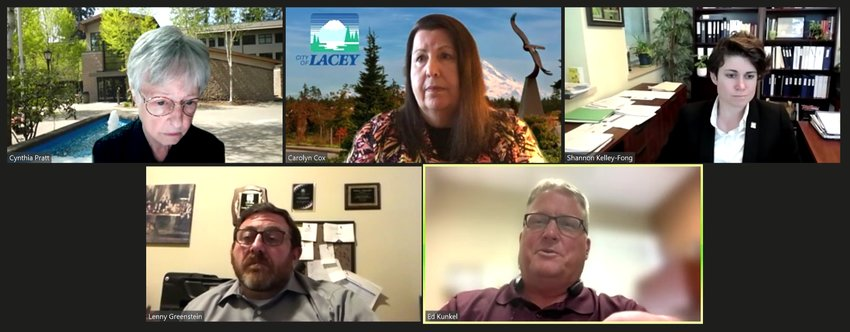 Four members of Lacey's city council met with Assistant City Manager Shannon Kelley-Fong on July 22, 2021.