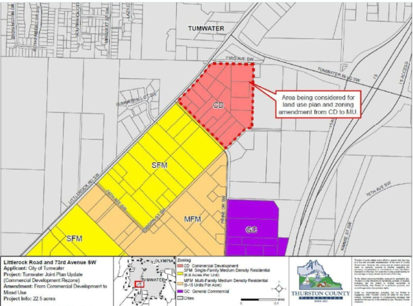 Littlerock Road at 73rd Ave. SW - The property under consideration covers 19 acres of land which the city staff proposes to change from Neighborhood Commercial (NC) to Single Family Medium Density Residential (SFM).