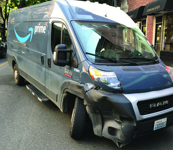 This is the Amazon delivery van that was allegedly hit by Michael John Casino on July 26, 2021.