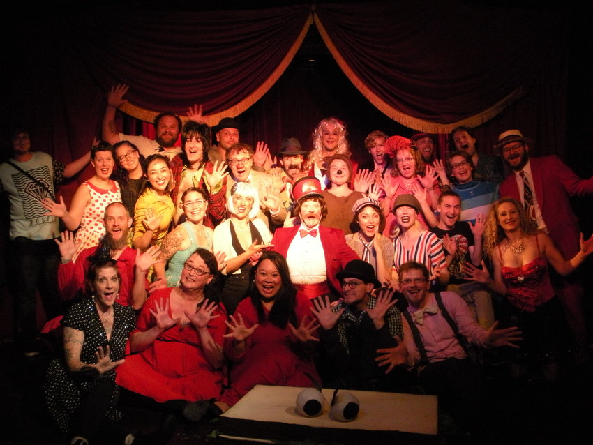 The Lord Franzannian Royal Olympian Spectacular Vaudeville Show cast and crew posed, in the Before Days.