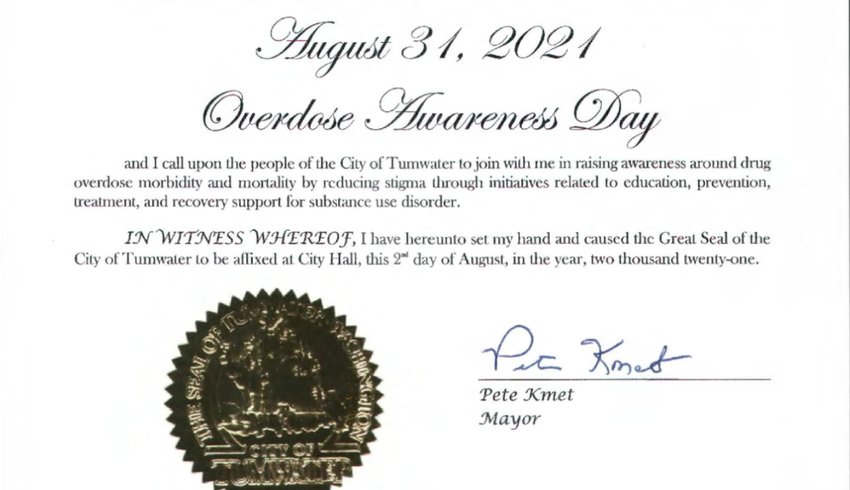 Tumwater declared Aug. 31, 2021 to be Overdose Awareness Day at the city council meeting on Aug. 2.