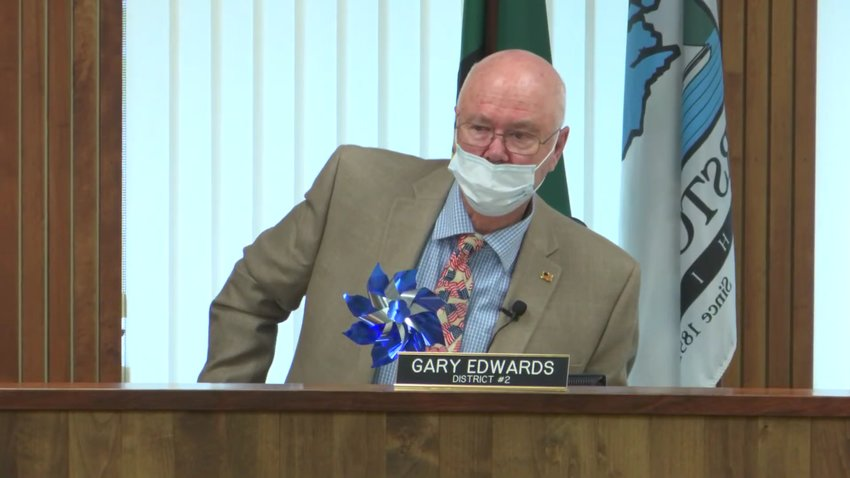 Commissioner Gary Edwards spoke in opposition to a masking mandate for county workers at the Board of County Commissioners' meeting on Tue., Aug. 24, 2021.