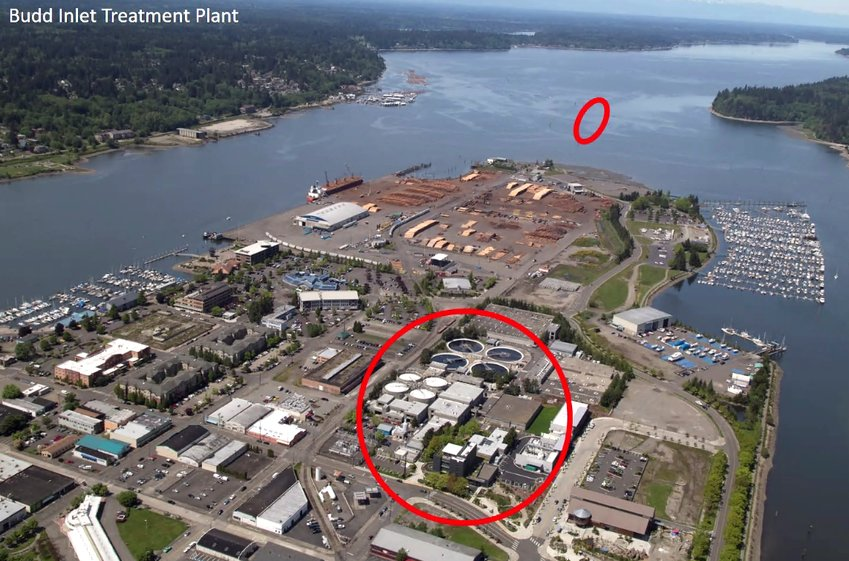 The larger red circle shows the loation of the LOTT Budd Inlet Treatment plant in downtown Olympia; the smaller circle shows where processed and treated wastewater is discharged.