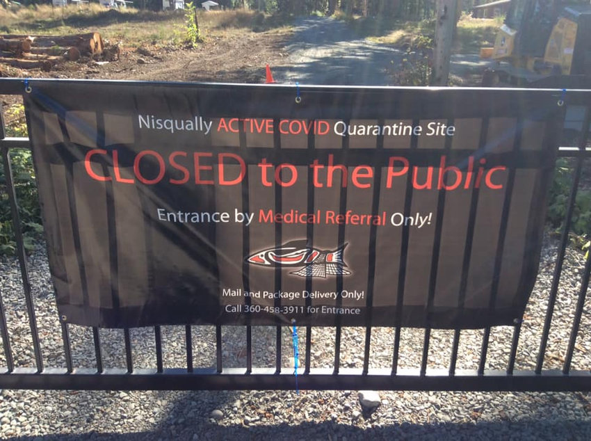 This sign, installed during the week of Sept. 20 has attracted national discussion and local disruptions at the Nisqually Indian Tribe's Brighton Creek Healing and Retreat Center in Pierce County.