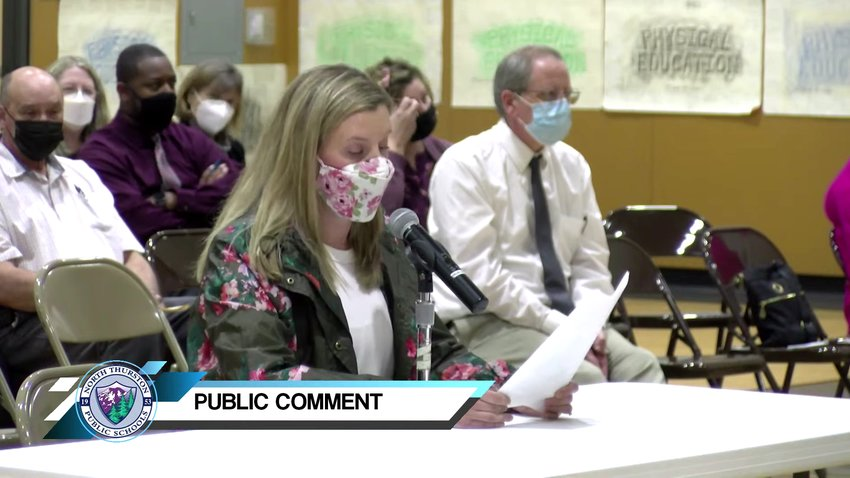 Molly Hoghaug expressed safety concerns on her son's bus route during the NTPS regular school board meeting on Tue., Oct. 5, 2021.