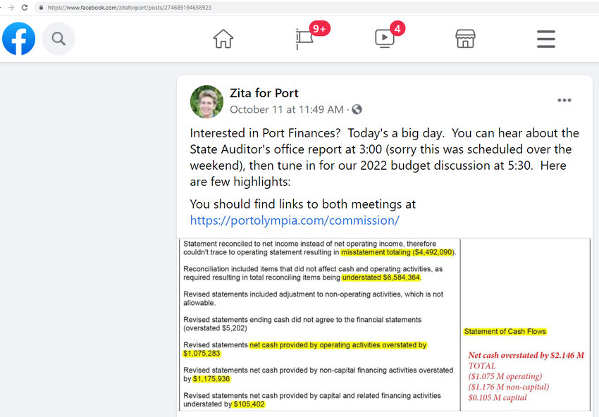 Port of Olympia Commissioner E.J. Zita posted this comment over a comment on Facebook on Mon., Oct. 11, 2021