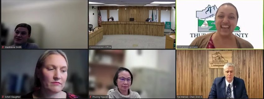 Thurston County Health Officer Dr. Dimyana Abdelmalek, top row, right, shared that COVID-19 cases have declined in the past week during the Thurston County Board of Health meeting on Oct. 12, 2021.