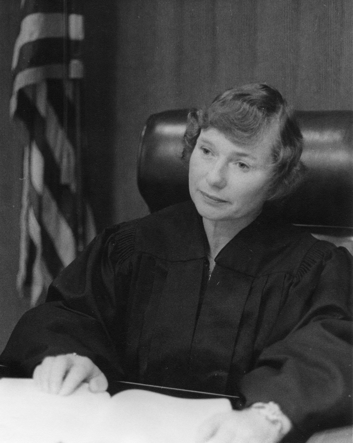 In this photo, circa 1980, Judge Carol Fuller is shown on the Superior Court Bench.