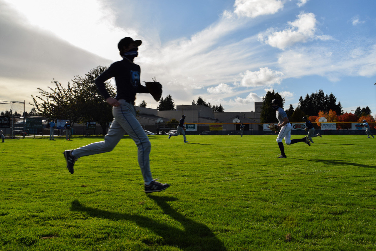 Baseball practice today at Olympia High School