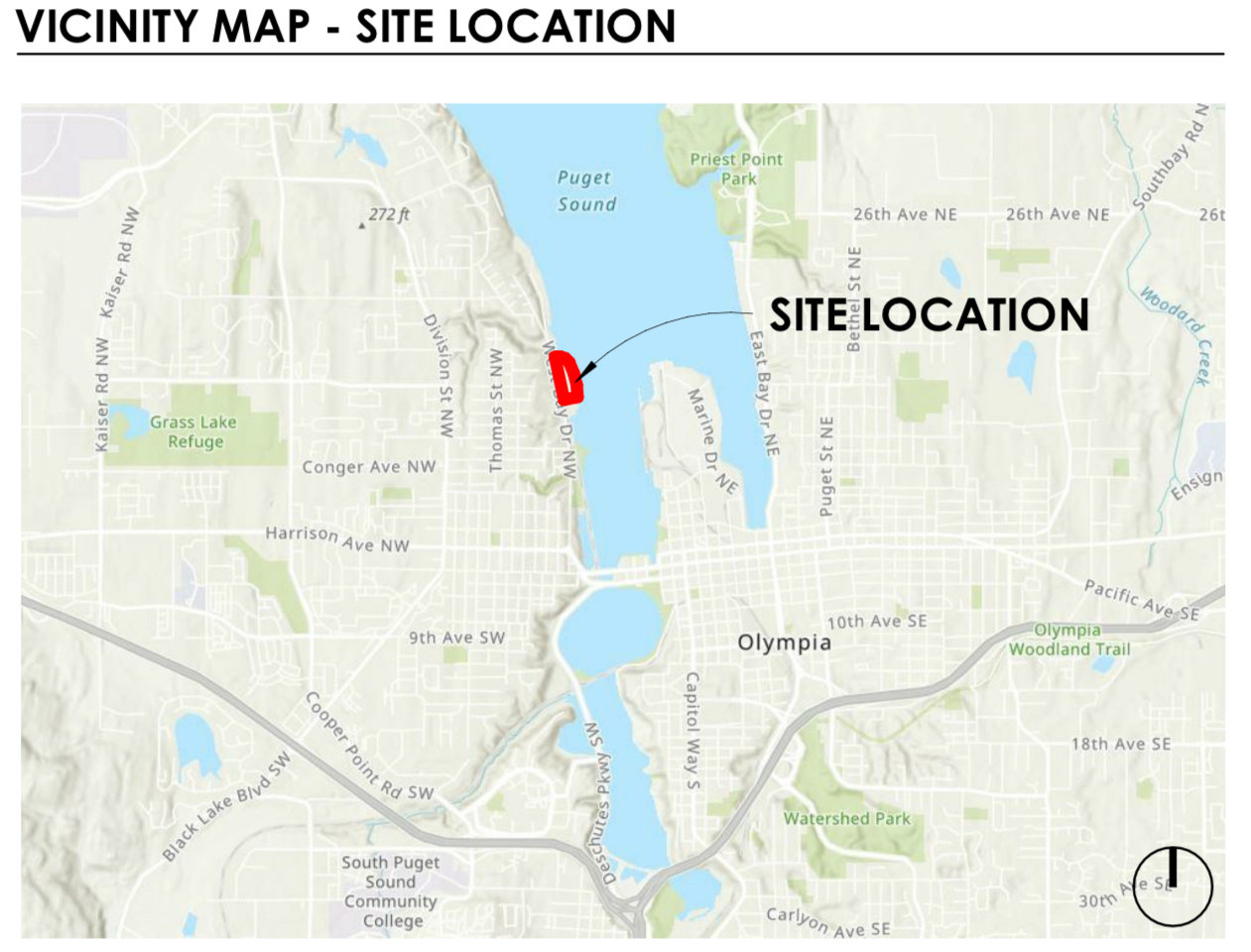 Location of 1210 West Bay Drive NW, Olympia
