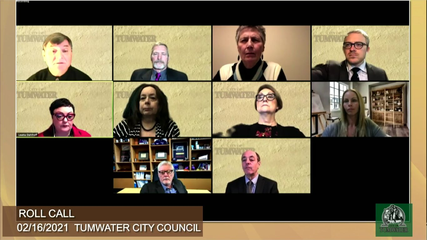 The Tumwater City Council met for a regular board meeting on Tue., Feb. 16, 2021. Under consideration was an ordinance banning vaping and smoking in city parks, and a final farewell to Councilmember Tom Oliva.