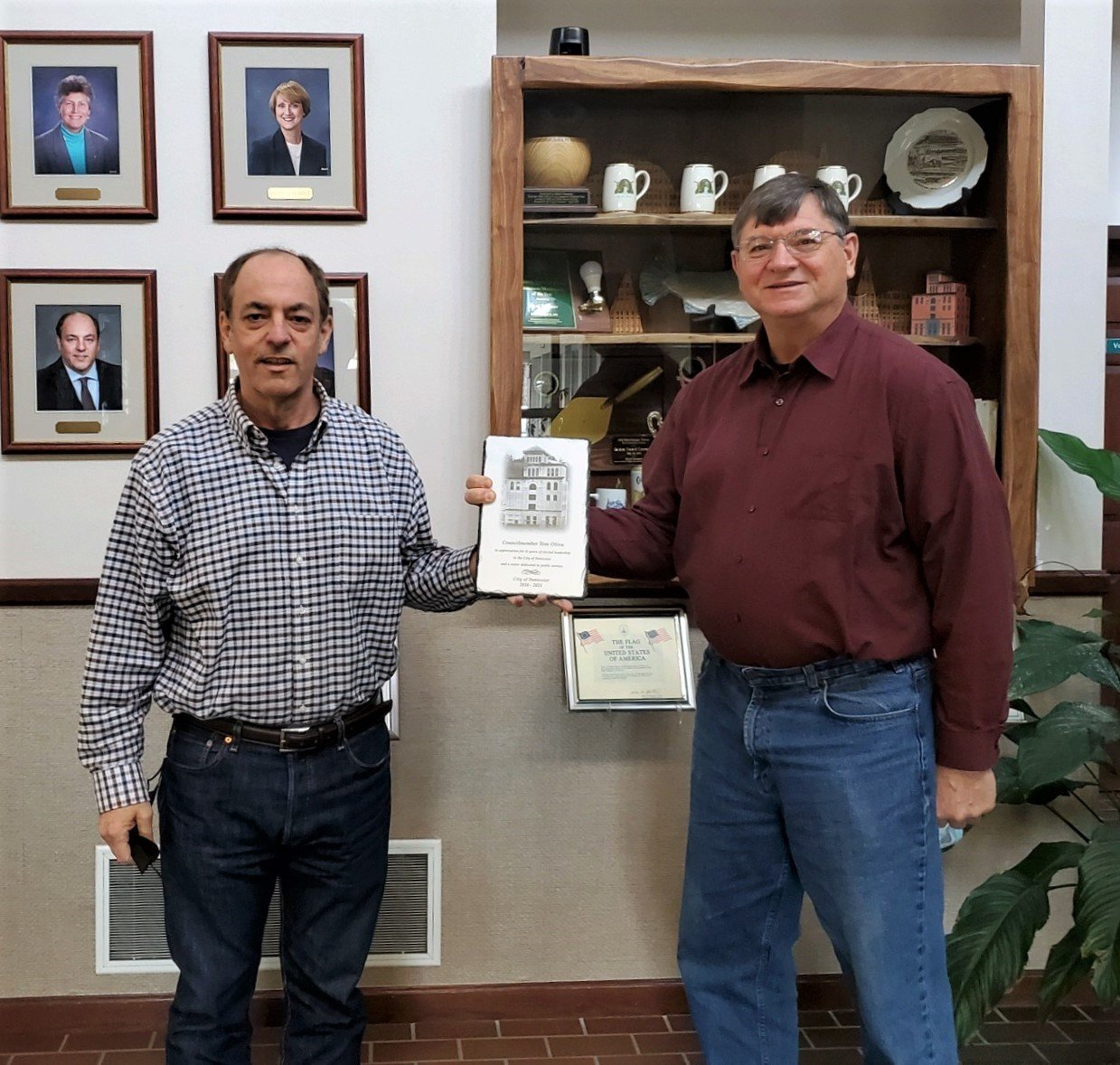 Mayor Pete Kmet presented Councilmember Tom Oliva with a plaque in recognition of his years of service to the community on Wed., Feb. 17, 2020.