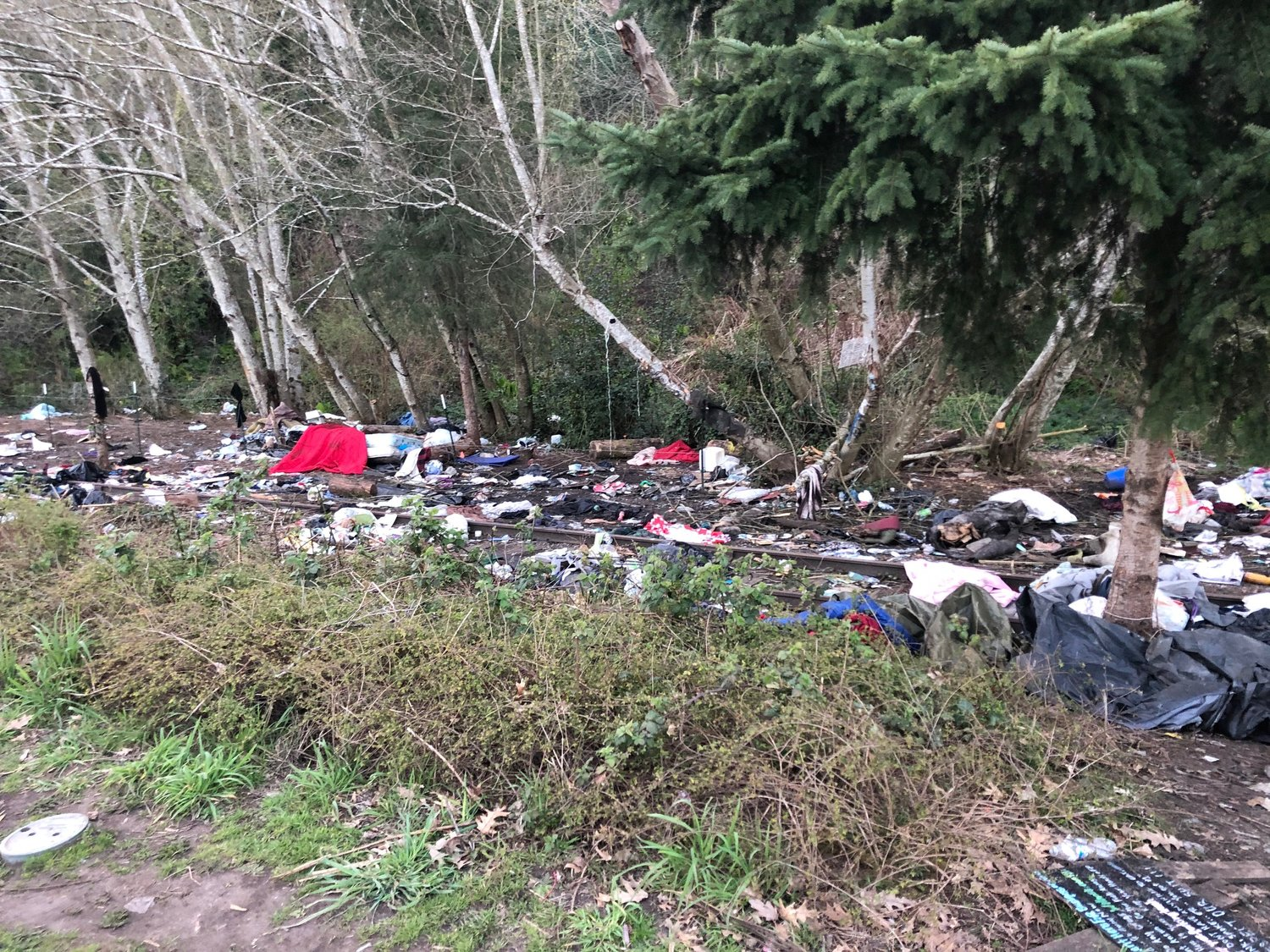This shows a portion of the debris spread outside of the tents and other temporary shelters that are on private property along the west side of Deschutes Parkway across from Capitol Lake in Olympia. Image taken on April 5, 2021.