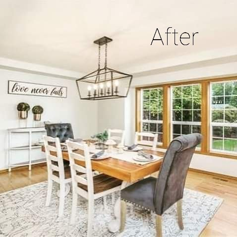 AFTER: The same dining room after the room was staged by Faith by Design Staging and Interior Design before the home was shown to prospective buyers.