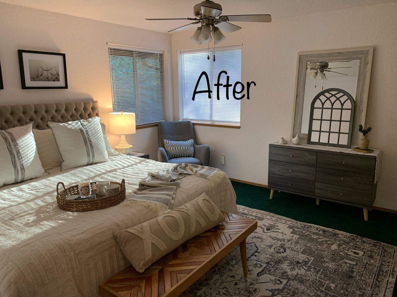 AFTER: The same bedroom, with staging furniture installed prior to showing of the house. Note the area rug on top of the dark wall-to-wall carpeting.