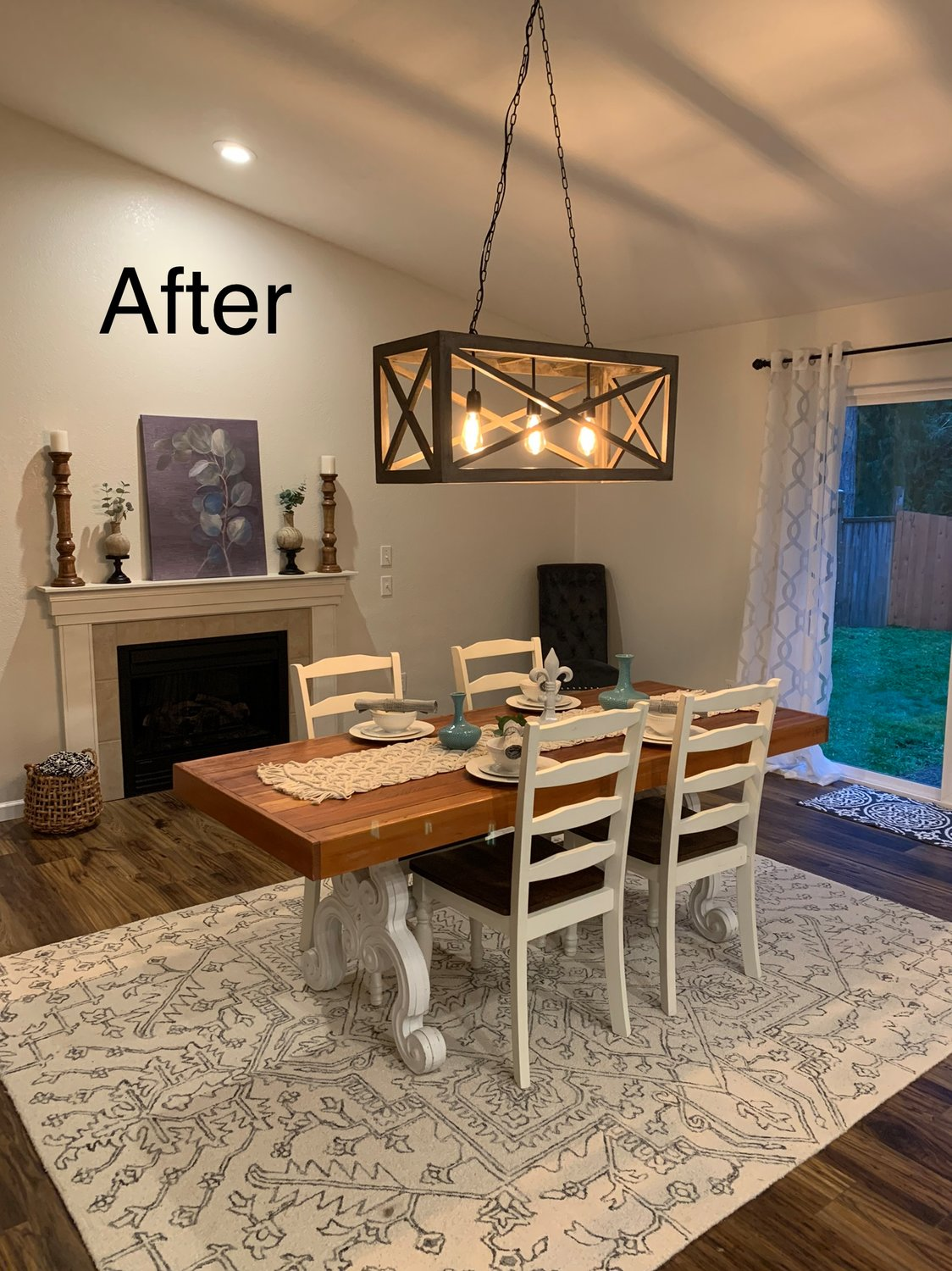 AFTER: Another view of a staged dining room.