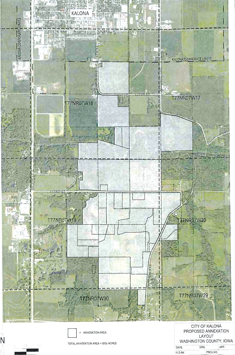 The gray shaded areas on the map show the parcels included in the voluntary annexation into the city of Kalona.
