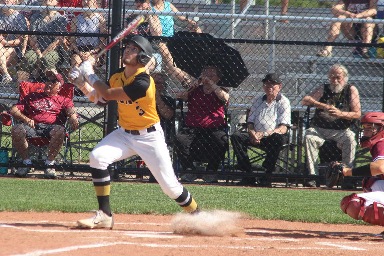 Harmon Miller, shown taking a swing during the Class 1A district tournament, led Lone Tree with a .441 batting average this season.