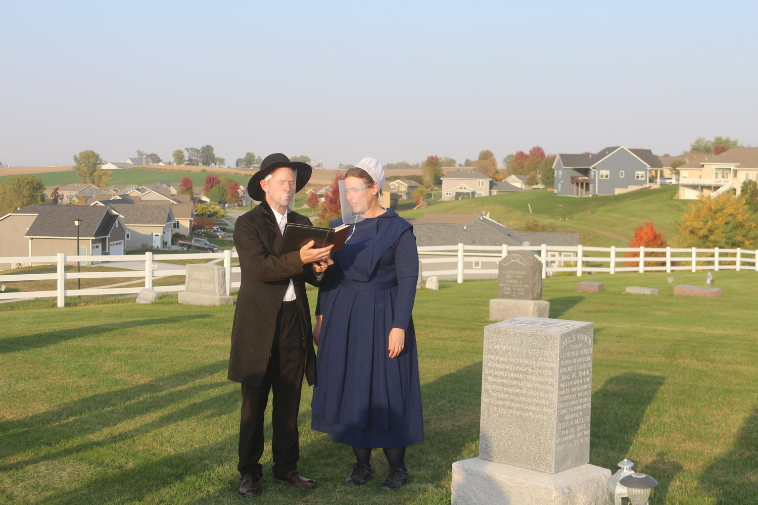 Trent and Tammy Yoder portray Joseph S. and Eliza Yoder.  Joseph S. was the first president of the Sharon Hill Cemetery board.