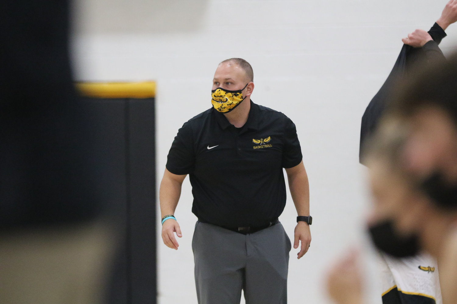 Mid-Prairie coach Daren Lambert watches the action during the first quarter of a scrimmage with Mediapolis in Wellman on Saturday, November 21.