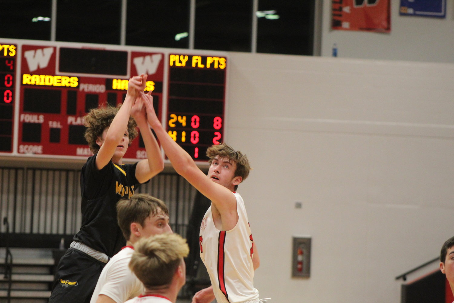 Jack Pennington of Mid-Prairie lets a shot fly in the Golden Hawks game at Williamsburg on Tuesday, Dec. 1.