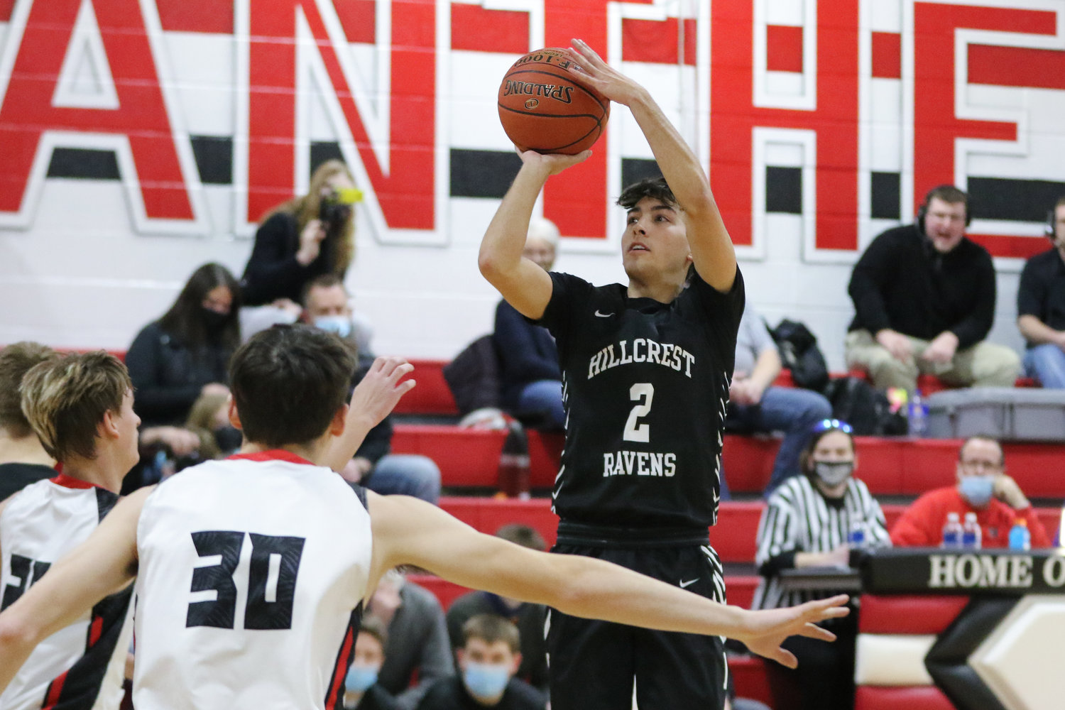 Best from behind the arc: Eli Ours at Louisa-Muscatine. Ours was 7-10 from the 3-point line as Hillcrest avenged an earlier loss with a 54-24 win at L-M.