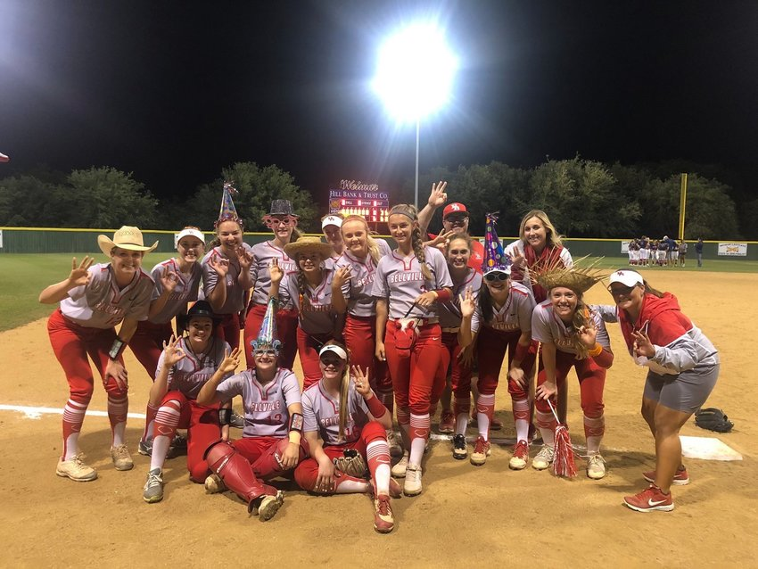 The Bellville softball players celebrated their 6-0 area championship win over Wimberley with big hats for their third-round entry.
