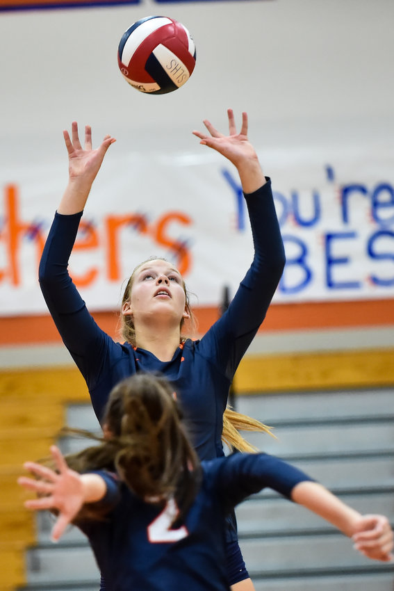 August 6, 2019: Seven Lakes Casey Batenhorst (5) sets Seven Lakes Gabby Collins (2) up for a shot during the high school volleyball game between  Seven Lakes and Clear Creek at Seven Lakes High School in Katy Tx.   Mark Goodman - Katy Times
