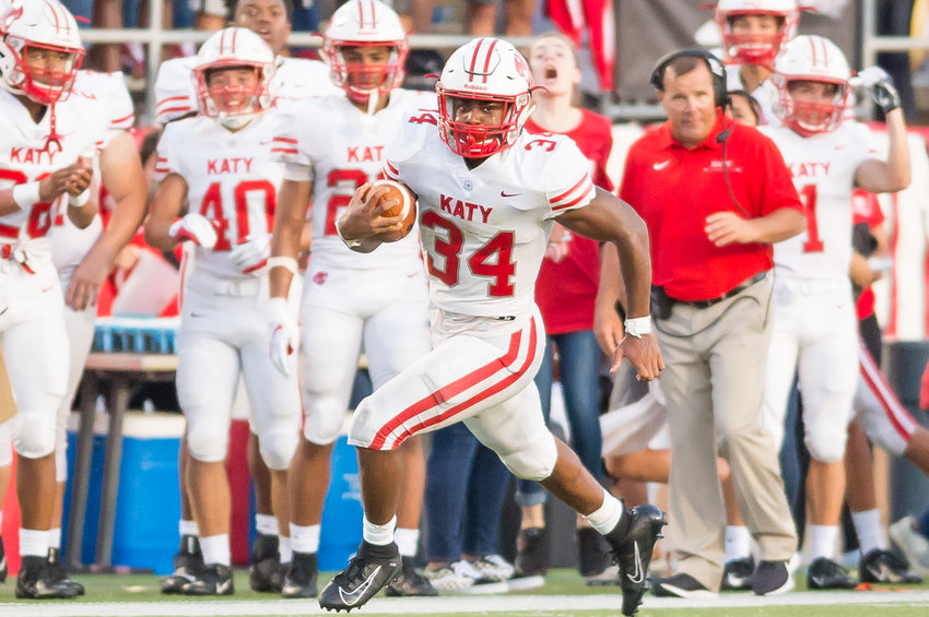Katy running back Ron Hoff carries the ball during a game against North Shore on Aug. 29 at Galena Park ISD Stadium.
