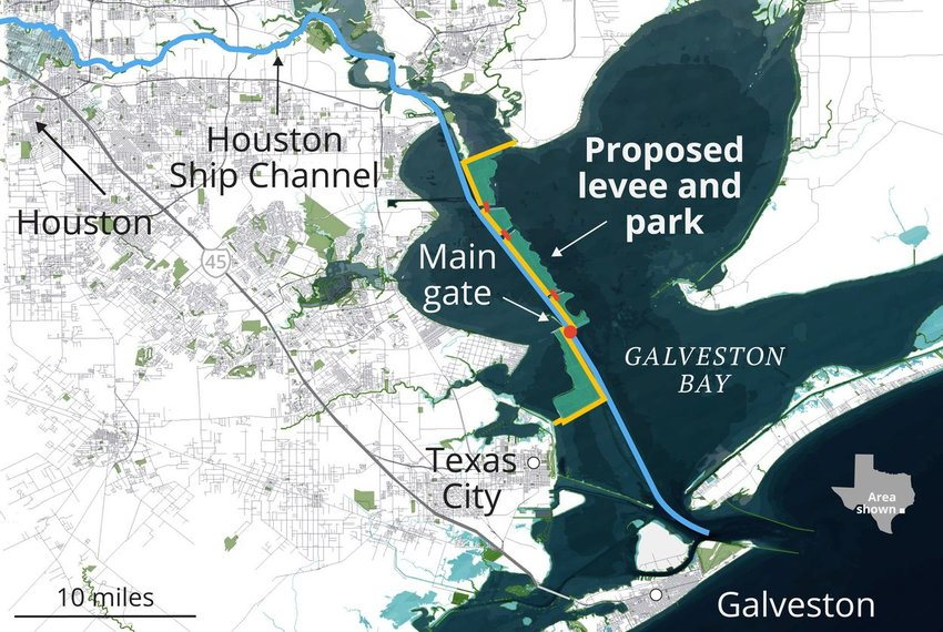 The main component of Rice University's proposed Galveston Bay Park Plan is a 25-foot-tall levee along the Houston Ship Channel, which would be constructed out of clay dredged from the shipping lane. Additional dredged material would be piled behind it to form parkland. | Graphic by Connie Hanzhang Jin