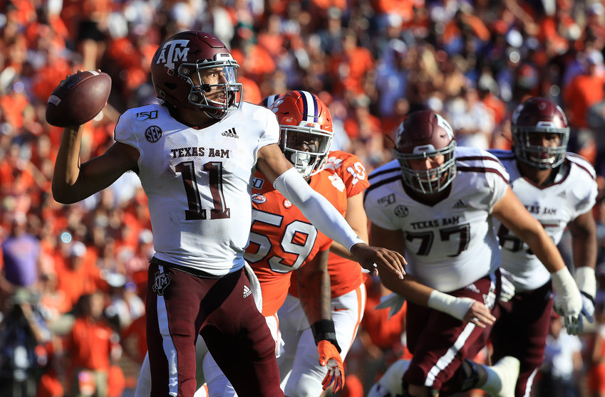 Texas A&M quarterback Kellen Mond (11) drops back to pass against Clemson at Memorial Stadium in Clemson, S.C., on Saturday, Sept. 7, 2019. Clemson won, 24-10. (Streeter Lecka/Getty Images/TNS) **FOR USE WITH THIS STORY ONLY**