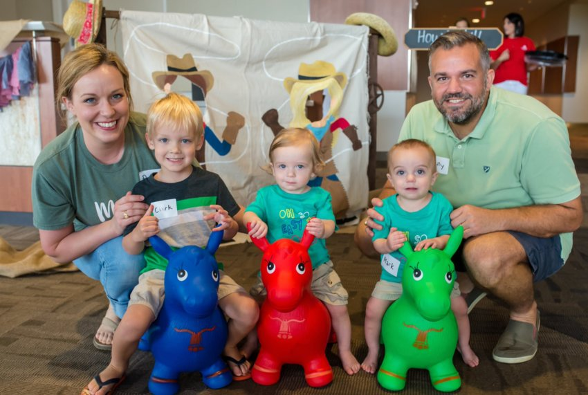 From left, Anne, Clark, George, Mark and Kelly Billips celebrate their twins' graduation from the NICU in 2018.