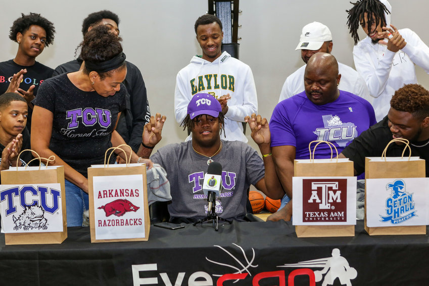 Morton Ranch senior Eddie Lampkin verbally commits to TCU at his college announcement ceremony Sept. 20 at EyeCan Athletics in Katy.
