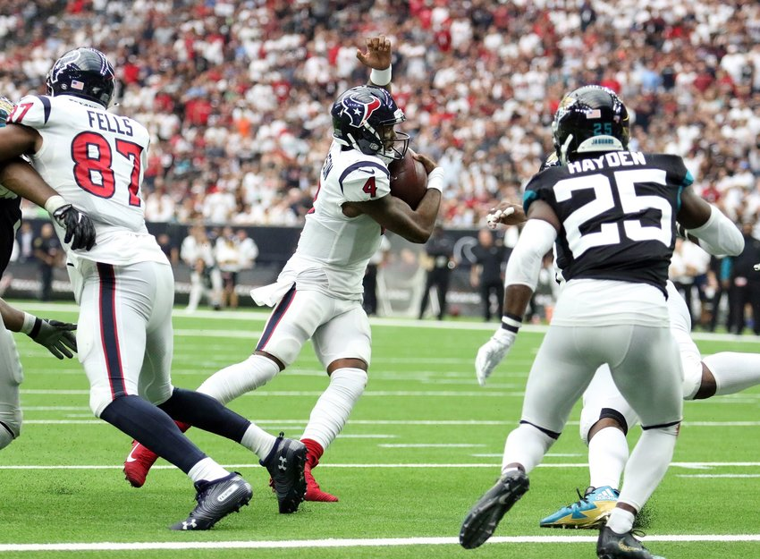 Houston Texans quarterback Deshaun Watson carries the ball during a game against the Jacksonville Jaguars on Sept. 15 at NRG Stadium. The Texans won, 13-12.