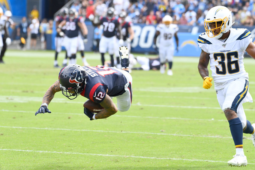 Houston Texans receiver Kenny Stills catches one of his four passes during a game against the Los Angeles Chargers on Sept. 22. The Texans won the game, 27-20.