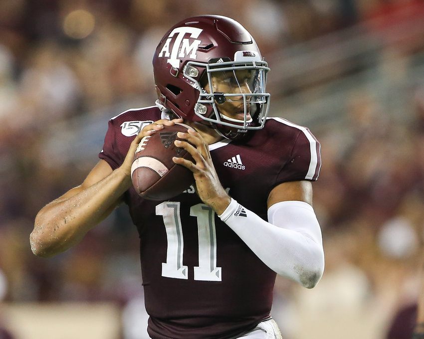 Texas A&M Aggies quarterback Kellen Mond (11) looks to pass during an NCAA football game between Texas A&M and Texas State at Kyle Field in College Station, Texas on August 29, 2019.