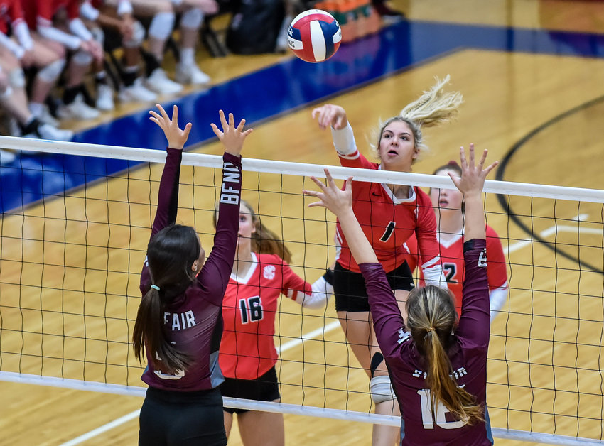 Katy Tx. Nov. 12, 2019: Katy's Skylor Weaver (1) delivers a spike during the Regional Quarter Final High School Volleyball playoff match between Katy and Cy-Fair at Wheeler Field House.  (Photo by Mark Goodman / Katy Times)