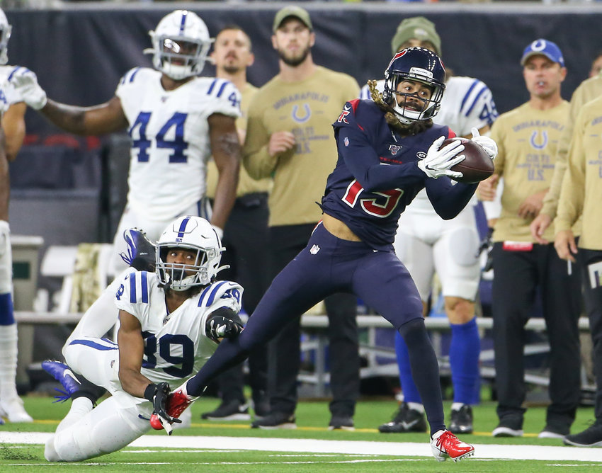 Houston Texans wide receiver Will Fuller (15) brings in a pass during an NFL game between the Houston Texans and the Indianapolis Colts at NRG Stadium in Houston, Texas, on Nov. 21, 2019. Houston won 20-17.
